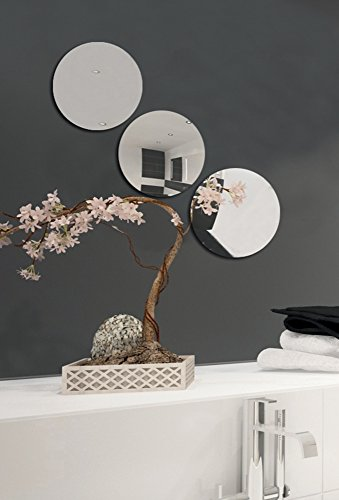 MSV Spiegel Spiegelfliesen Wandspiegel Fliesenspiegel selbstklebend 3 Stück - Ø 15cm - 3 Stück Spiegel