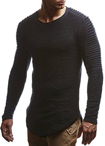 LEIF NELSON Herren Pullover Hoodie Sweatjacke Longsleeve Sweatshirt Jacke Basic Rundhals Langarm oversize Shirt Hoody Sweater LN6326 Schwarz