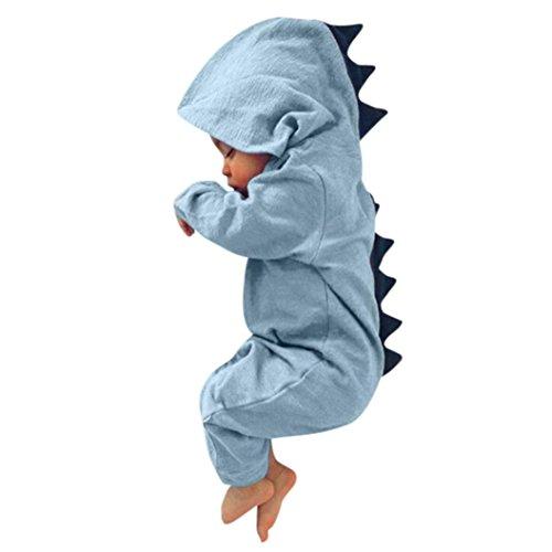 FNKDOR Baby Neugeborenes Jungen Mädchen Dinosaurier Kapuze Strampler Overall Outfits Kleidung (03 Monate, Blau)