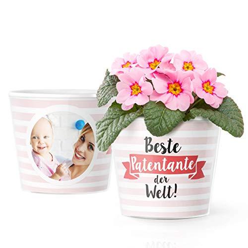 Facepot Patentante Geschenke Blumentopf (ø16cm) | Geschenk für Taufpatin von Patensohn oder Patentochter mit Bilderrahmen für 2 Fotos (10x15cm) | Beste Patentante der Welt