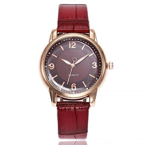 Uhren DELLIN V245 Damen Beiläufige Bælte Quarz Edelstahl Band Marmorband Uhr analoge Armbanduhr (Rot) (Timex Uhr Reparatur)