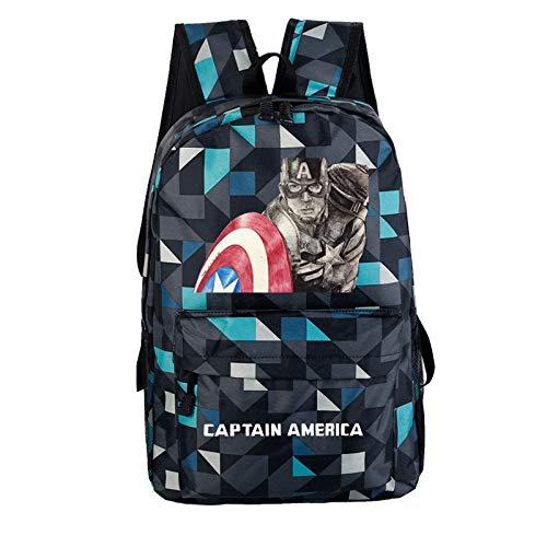 Captain Shield Rucksack Endgame Cosplay Erwachsene & Teenager Schüler Schultasche Schultertasche Daypack Büchertasche Wandertasche Backpack für Halloween Karneval (Tourist-halloween-kostüme Für Erwachsene)