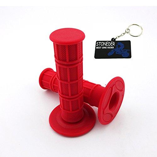 Stoneder manopole per acceleratore moto, in gomma morbida e resistente, rosso