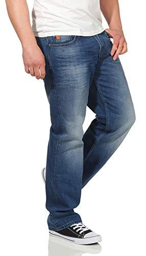 M.O.D Herren Jeans Hose Thomas Comfort Fit Straight Cut Papeete Blue 36/32 -