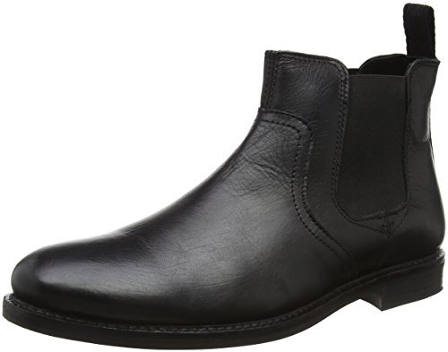 Red Tape Newton, Botas Chelsea para Hombre, Negro (black leather), 41 EU (7 UK)