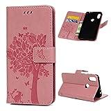 Edauto Motorola One Hülle Handyhülle Case Cover Lederhülle PU Leder Tasche Flipcase Schutzhülle Handytasche Ständer Klappbar Magnet Geldbörse Lederholster Bumper Skin Baum Pink