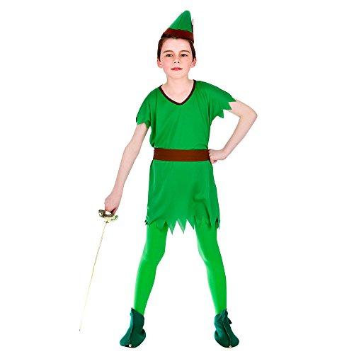 (L) Jungen verloren Junge Robin Hood Elfen Kostüm für Märchen Kostüm Kinder groß Alter 8-10 - Alte Robin Kostüm