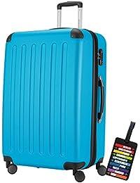 Hauptstadtkoffer® Valigia (128 litri) con un lucchetto TSA Seria SPREE (Colore Celeste con 1 ciondolo per la valigia)