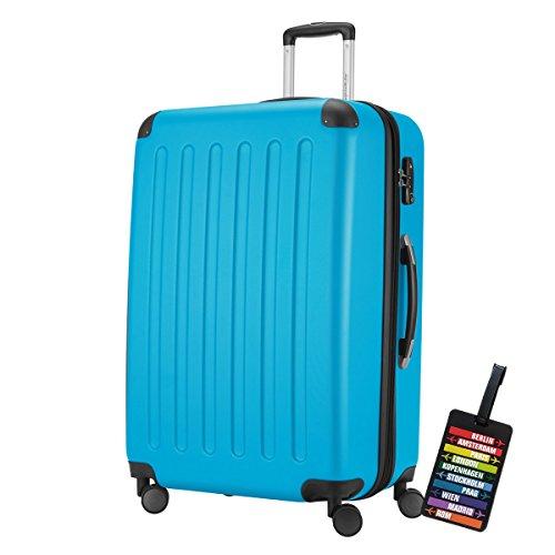HAUPTSTADTKOFFER® Hartschalen Koffer SPREE 1203 · NEU 4 Doppel-Rollen · MATT · TSA Zahlenschloss · + KOFFERANHÄNGER (128 Liter, Cyan Blau)