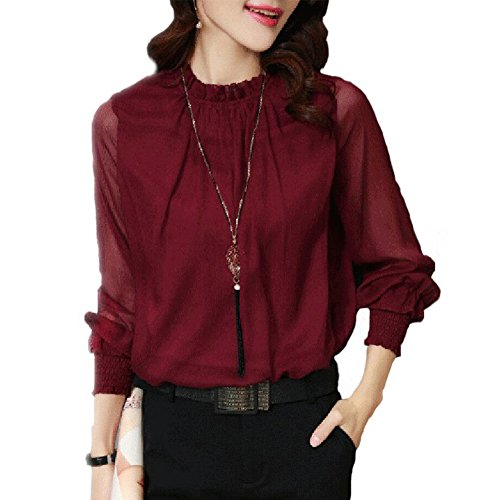 Yalatan 2017 Autumn Long Sleeve Chiffon Blouse Women's Clothing 5 Colors Solid Sexy Knit Shirt winered