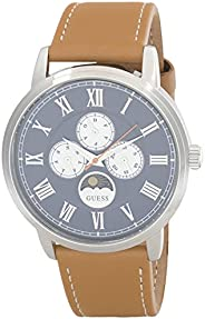 ساعة يد ديلانسي للرجال من جيس، مينا ازرق وحزام جلدي، حركة كرونوغراف - W0870G4