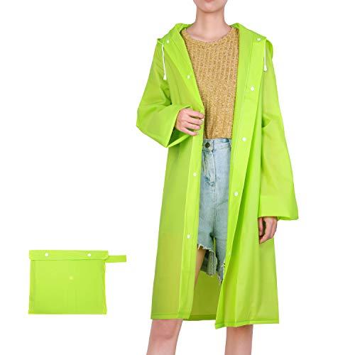 UNIQUEBELLA Regenmantel, transparent, wiederverwendbar, Regenjacke, Regenjacke, Notfallponcho mit Kapuze und Ärmeln für Unisex Erwachsene M Green M