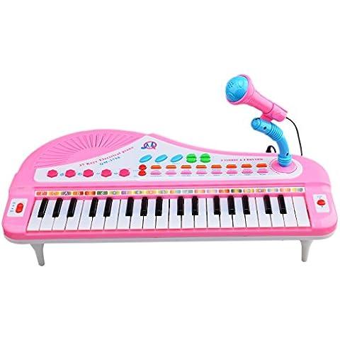 Niños Teclados, Wolfbush 37 Tecla Piano Electrónico Instrumentos Musicales Juguetes Juegos con Karaoke Micrófono - Rosa