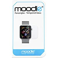 moodie Apple Watch 4-44mm Panzerglas 3D Folie mit Transparenten Kanten Premium Glasfolie für Gewölbte Displays 3D Panzerglasfolie Curved - Full Cover vollständige Display Abdeckung
