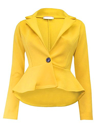 Janisramone femmes crop jabot shift slim fit peplum blazer veste manteau taille 8-24 Jaune