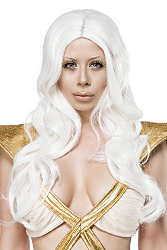 Weiße Damen Langhaar Perücke Wig mit gewelltem Haar ohne Pony Perücke Verkleidung