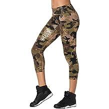 49f6d672a0d449 Zumba Fitness Damen Women's Wide Waistband Print Capri Legging with  Compression Caprihose