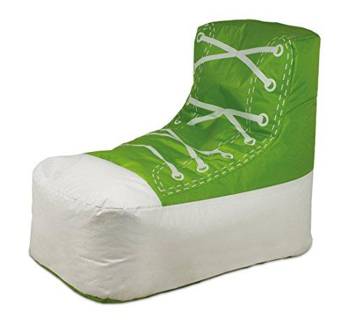 Shoe 2 Kinder Sitzsack Sitzkissen Grün / Weiß in Schuhform