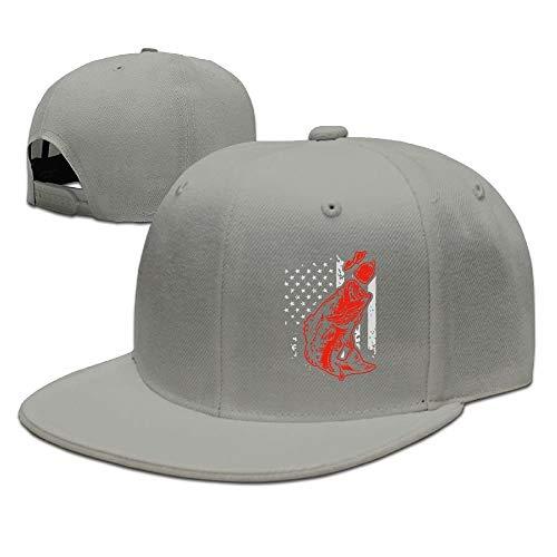 Unisex Snapback Caps,Bass Fishing Lure and American Flag Adjustable Hip Hop Flat Brim Baseball Hat Flat Brim Fitted Wool Cap