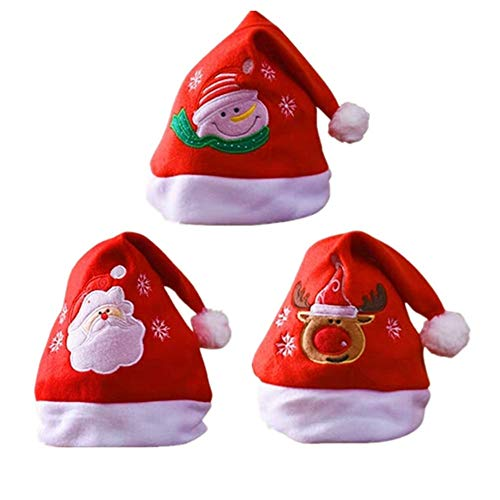 BJ-SHOP Cappello di Natale,Cappello Babbo Natale Cappellino da Pupazzo di Neve di Babbo Natale con Renna di Babbo Natale