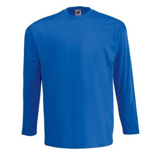 Fruit Of The Loom Herren Langarm T-Shirt mit Rundhalsausschnitt Blau - Königsblau