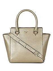 Da Milano LB-4002 Light Gold Leather Handbag