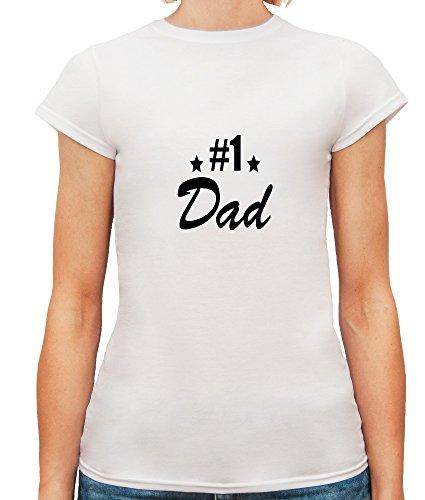 Mesdames T-Shirt avec Dad Number One Phrase imprimé. Blanc