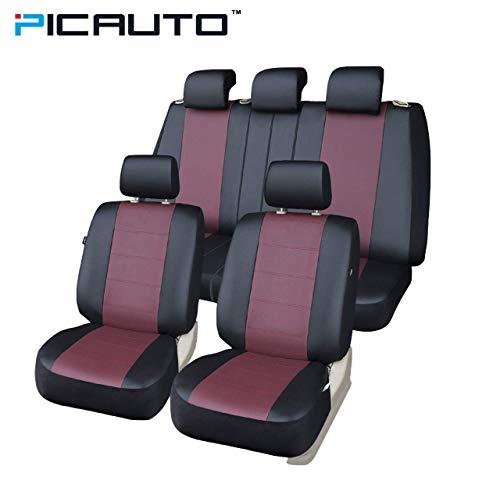 Picauto Ensemble de housses de siège auto pour auto, camion, van, SUV - Cuir Synthétique, compatible avec système d'airbag
