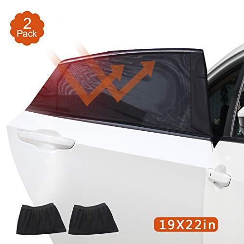 Auto Sonnenschutz Autofenster Sonnenschutz 2 Stück Selbsthaftende Sonnenblenden für Seitenfenster, Baby Auto-Hinterseitenfenster Sonnenblenden mit UV Schutz/Blendschutz, geeignetfür Autos und SUVs (L)
