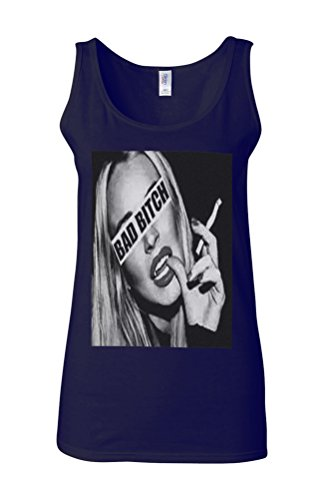Bad B*tch Sexy Smoking Girl Attitude Novelty White Femme Women Tricot de Corps Tank Top Vest Bleu Foncé