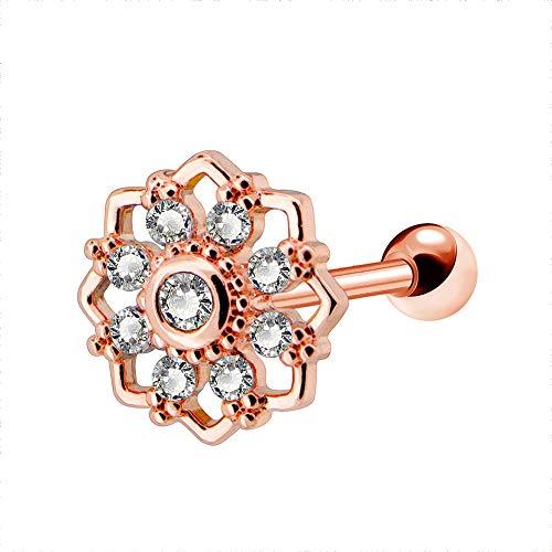 OUFER 16G Stainless Steel Rose Gold Flower with Clear CZ Cartilage Earring Stud Earring Piercing Jewellery (Teardrop Belly Button Ringe)