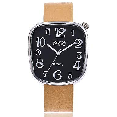 XKC-watches Herrenuhren, Damen Armbanduhr Modeuhr Chinesisch Quartz Großes Ziffernblatt Echtes Leder Band Freizeit Minimalistisch Schwarz Silber Rot Braun Beige (Farbe : Beige)
