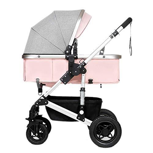 LAZ Leichter Kinderwagen oller Kompakt zusammenklappbare Babywanne aus Aluminium für Mädchen und Jungen Faltbare Babywanne für Neugeborene , UV-Schutzdach , Geeignet von Geburt an (Color : Pink)