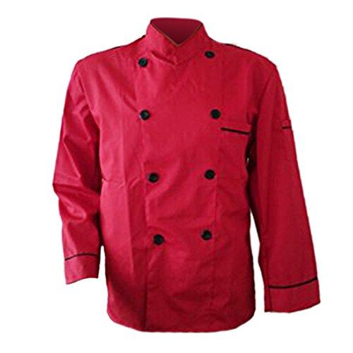 Erwachsene Männer Jungen Baumwolle Arbeitsanzug Arbeitsoveralls Kitchen Koch Kochen Ober Kellner Kellnerin Arbeit Kleidung Anzug Uniform langärmelig rot XL (Kochen, Kleidung)