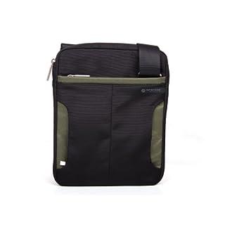 Tablet Messenger Bag Black with Green Trim