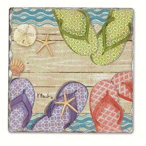 Hit the Beach Einzel Tumbled Tile Coaster