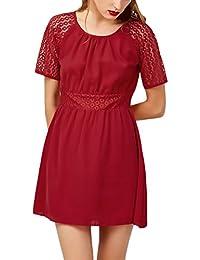 d0c8ba6016 Vestidos Verano Mujer Elegantes Moda Gasa Manga Corta Cuello Redondo  Dresses Fiesta Disfraz Color Sólido Vestidos De Cortos Vestido…