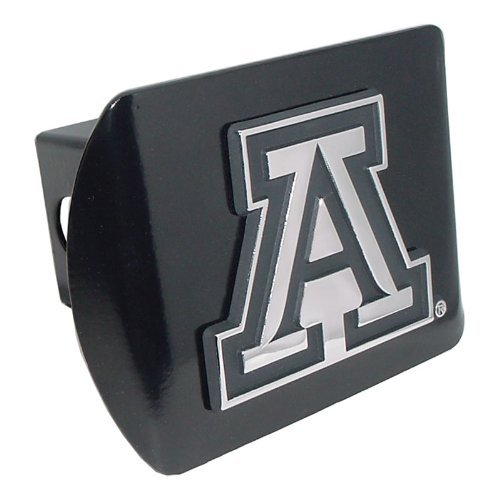University of Arizona Wildcats Black with Chrome A Emblem NCAA College Sports Metal Trailer Hitch Cover Fits 2 Inch Auto Car Truck Receiver (Hitch Cover)