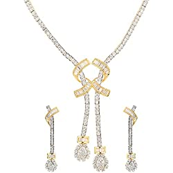 Swasti Jewels Gold Plated CZ Zircon Fashion Jewellery Set Women's Necklace Earrings