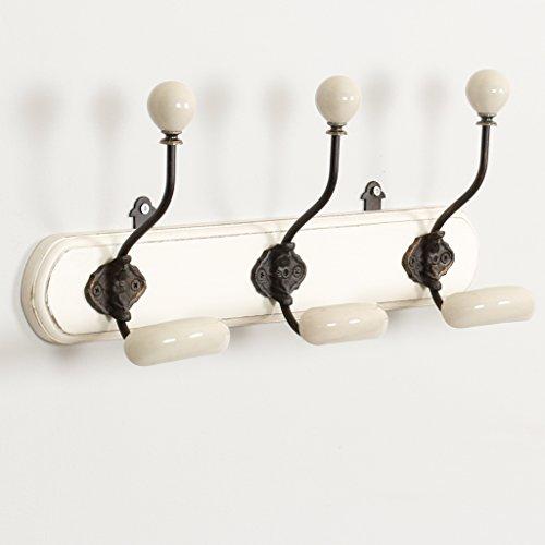 Wand-platten Viktorianischen (Elegante Gusseisen Keramik TRINKGELD Mehrzweck Kleiderhaken Hakenleiste auf einen hölzernen Plaque–Schöne, Classic Style, für jede Art von Aufbewahrung, perfekt für Diele, Schlafzimmer, Badezimmer und mehr–TRIO von Haken–perfekt für ein Rustikales oder Country Stil Innen. Tolles Einzugs Geschenk.–Breite von Board: 41cm Haken Höhe: 18cm)