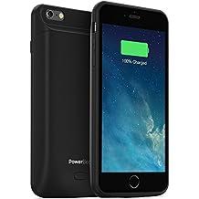 PowerBear Funda de Batería iPhone 6/6S Plus (MFI) [7200mAh] Cargador Recargable Externo de Alta Capacidad (Hasta un 245% de Batería Adicional) - Negra [24 Meses de Garantía Incluida]