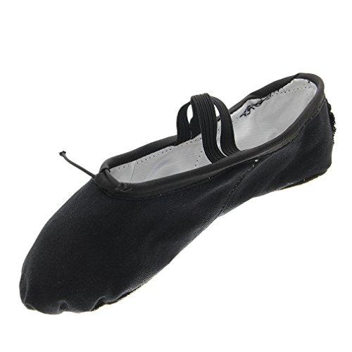 y-boa-chaussure-demi-pointes-danse-yoga-ballet-ballerine-toile-leger-cuir-souple-fille-36-noir
