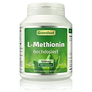L-Methionin, 500 mg, hochdosiert, 120 Kapseln, vegan – wichtige und essentielle Aminosäure. Baustoff für Proteine. OHNE künstliche Zusätze, ohne Gentechnik.