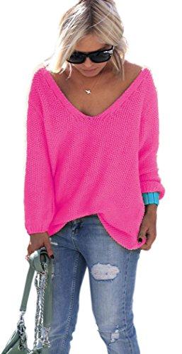 NEON Pink, Gelb, Rosa Pullover mit V-Ausschnitt Urlaub Einheitsgröße S M (Neon Rosa)