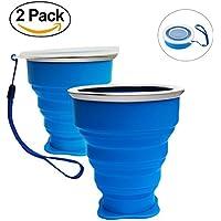 Vaso Plegable sin BPA Tazas de Café de Silicona Con tapa Copa de Viaje Portátil Para Senderismo Exterior Cámping Deportes, Azul x2