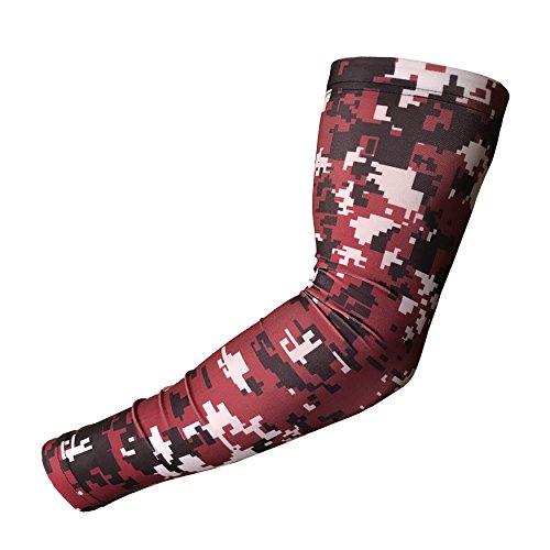 Sport Compression Arm Sleeve-Basketball Fußball Baseball-Jugend und Erwachsene Größen von Unreal Sportswear, Digital Camo Maroon / Black / White - Black Arm-schlinge