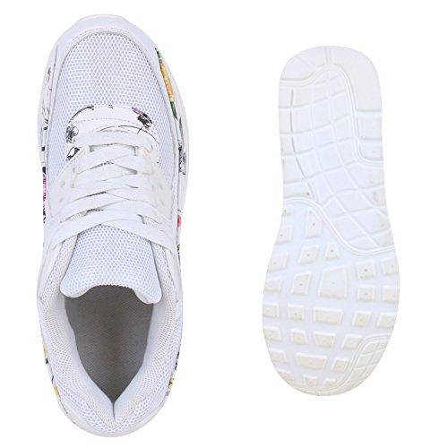 Trendige Unisex Laufschuhe | Damen Herren Kinder | Sportschuhe Metallic Glitzer | Camouflage Sneaker Bunt | Schnür Sport Turnschuhe Weiss Bunt