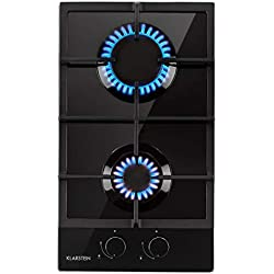 Klarstein Ignito Domino Plaque de cuisson à gaz - 2 feux, autosuffisante, 30 cm, encastrée, brûleur Sabaf, gaz naturel/propane, soupapes de sécurité, arrêt automatique, vitrocéramique, noir
