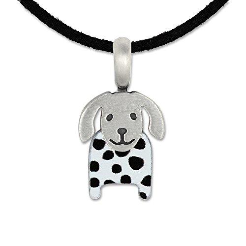 Silberwerk, Anhänger mit veganem Lederband, LITTLE FRIENDS; Hund 16x11mm schwarz weiß