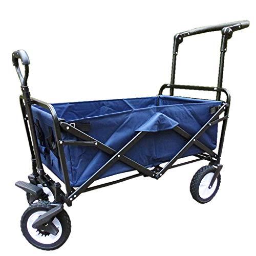 XQR Faltbarer Hochleistungslaufkatzen-Warenkorb-Garten-Strand-Einkaufscampingwagen im Freien mit Ablagekorb, Lastwagen-Handzug-Schubkarre,Blue